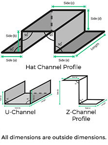 Buy Steel & Aluminum Hat Channel Online - MetalsCut4U
